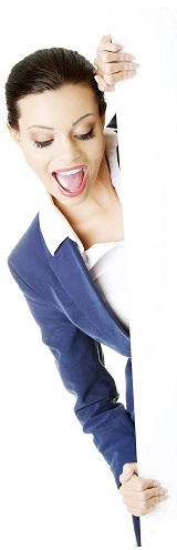 Smiling attractive businesswoman showing blank signboard, over white background isolated